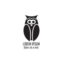 Stylized owl on white background.