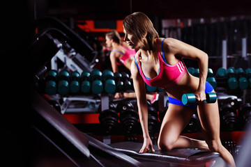 A young healthy athletic woman is training fitness at gym.