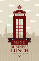 menu for business lunches with phone booth and Old London