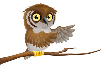 Cartoon owl on branch