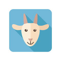 Goat flat icon with long shadow