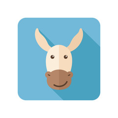 Donkey flat icon with long shadow