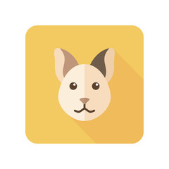 Cat flat icon with long shadow