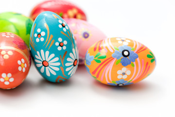 Hand painted Easter eggs on white. Spring patterns art, unique.