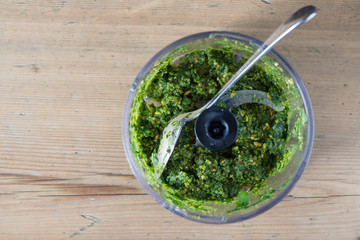 Homemade Pesto Sauce made in the Food Processor