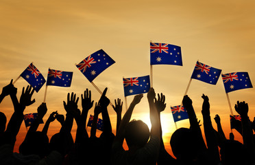Group of People Waving Australian Flags Concept