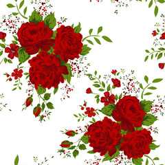 Floral pattern with of red roses on white background.