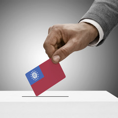 Black male holding flag. Voting concept - Republic of the Union