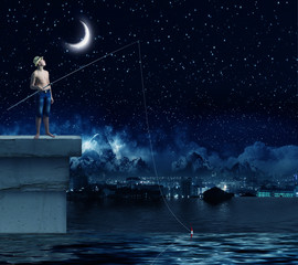 Kid fisherman