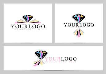 Diamond Stone Logo. Creative vector logo with colorful diamond