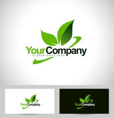 Green leaf logo vector with swash