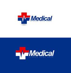 Medical Logo Design Concept. Hospital Vector Icon Logo