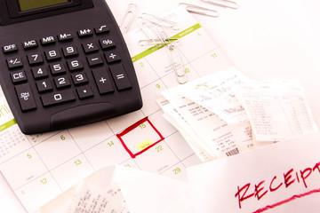 Tax preparation supplies and a calendar