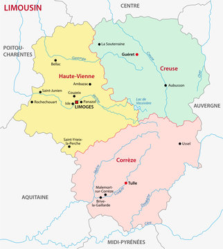 limousin administrative map