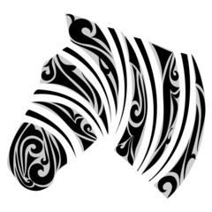 Zebra with ornamental stripes