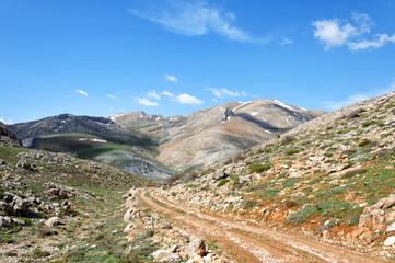 Mountain landscape in fann mountains, Tajikistan.