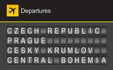 Czech Republic flip alphabet airport departures, Prague
