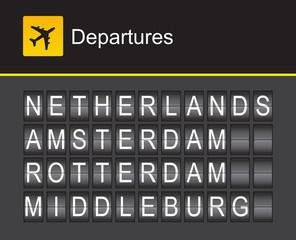 Netherlands flip alphabet airport departures