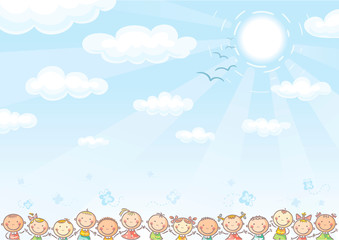 Background with sky and lots of kids