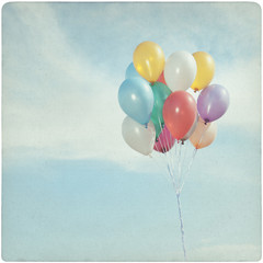 Vintage Background of colorful balloons in the sky