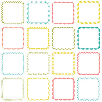 embroidered square frames
