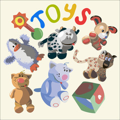 illustration with different funny toys