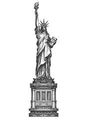 America. Statue of liberty on a white background. sketch