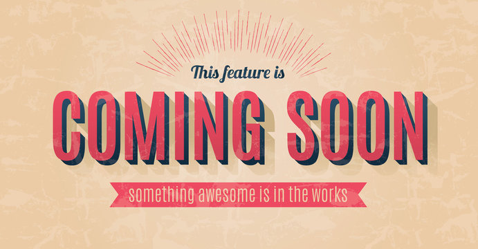 Retro text effect for a vector coming soon sign