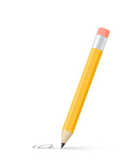 Yellow pencil. Vector illustration