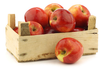 """fresh Dutch """"Jazz"""" apples in a wooden crate"""