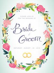 Wedding invitation, bride & groom, marriage, floral crown