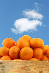tangerines in a wooden crate against a blue sky with clouds