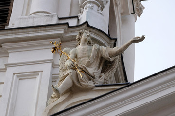 Angel on the portal of Mariahilf church in Graz, Austria