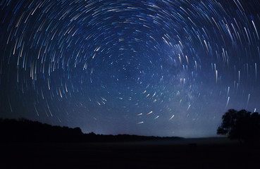 Papiers peints Nuit a beautiful night sky, Milky Way, star trails and the trees