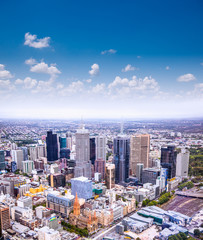 Aerial view of Melbourne on  Melbourne, Australia.