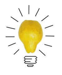 Inspiration concept yellow pear as light bulb metaphor for good