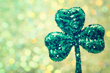 Saint Patricks Day green clover ornament
