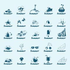 Summer Icons Set - Isolated On Blue Background