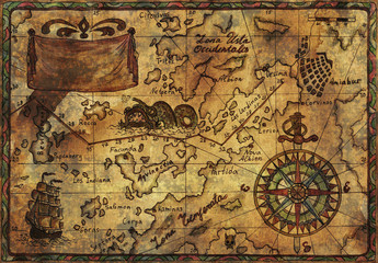 Hand drawn pirate map with old fabric texture