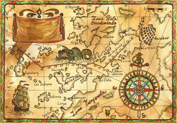 Pirate map with rose of winds, ship and banner