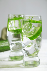 Glasses with fresh organic cucumber water