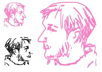 Trendy fashion men. Sketch character set Vector illustration.