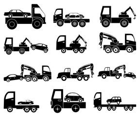 Tow vehicles icons set