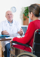 woman in   wheelchair with    doctor.