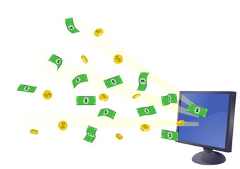Computer monitor with US dollar money and coins
