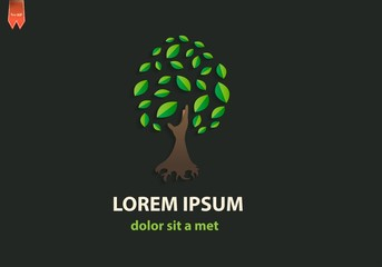 Green tree logo. Creative idea for business.