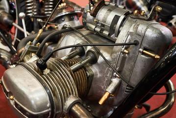 Old retro motorcycle engine