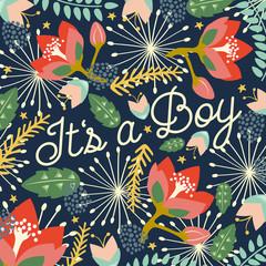 Birth announcement it's a boy. Vector design.