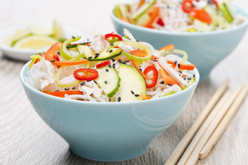 Thai salad with vegetables, rice noodles, chicken and sesame