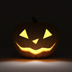 Halloween  Pumpkin on dark background with Fire Light Inside